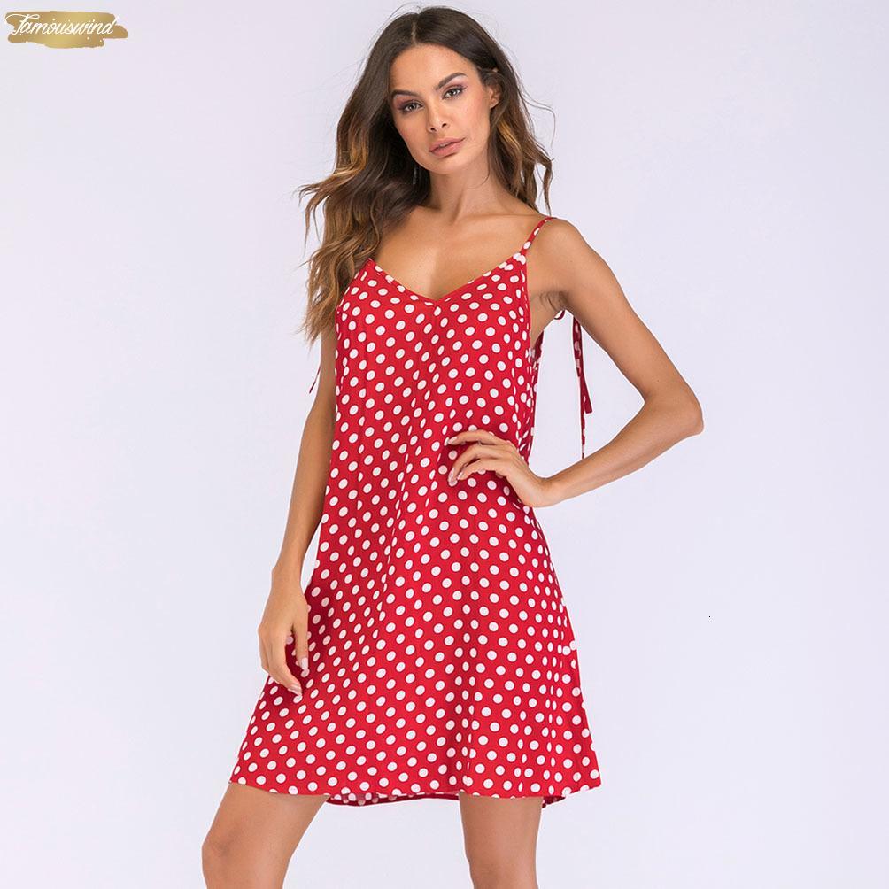 Sem encosto 2019 Verão vestido de bolinhas impressão Vestido V Neck mangas Tie Spaghetti Strap Mulheres roupas casuais Mini Vestido de Verão Designer