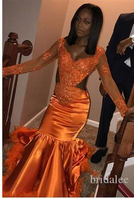 Abiti neri arancione Abiti da ballo della sirena Nero 2019 New Long Manica Applique Perline Aperto Abito da sera Formale Abito da sera Abito da festa