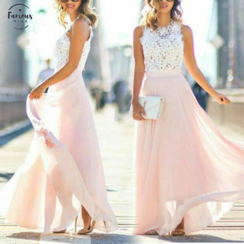 New Fashion Womens Lace Long Dress Formal Ball Gown Wedding Evening Ball Gown Party Maxi Dress Drop Shipping