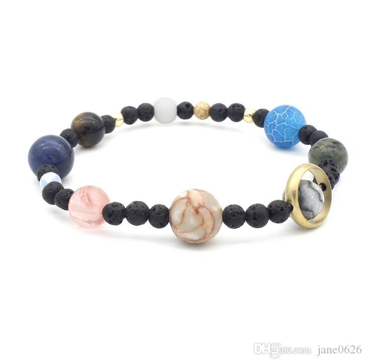 Cosmic Milky Way Solar System Eight Planets Bracelet Guardian Star Natural Stone Handwear Best Gift for Valentine's Day