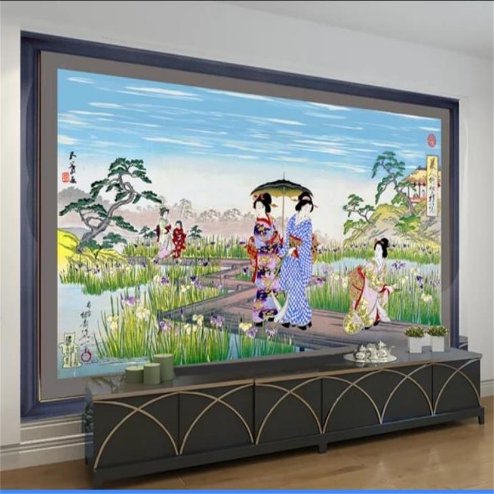 benutzerdefinierte Größe 3D-Fototapete Wohnzimmer-Bett-Zimmer Kinder Zimmer Wand japanische Ukiyo Schönheit 3D-Bild Sofa Aufkleber Tapete Wand TV Kulisse