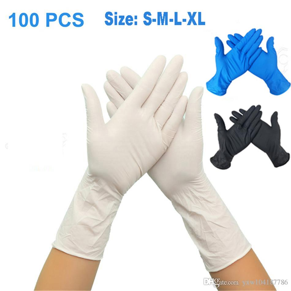 100PCS 일회용 장갑 니트릴 고무 장갑 라텍스를 들어 홈 식품 연구소 청소 고무 장갑 다기능 홈 도구 NEW