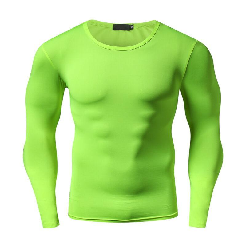 Mens funcionamento camisetas Slim Fit manga comprida Tops Workout Gym Muscle Training Básico Tops Sportswear Sweat-absorção homens cobre