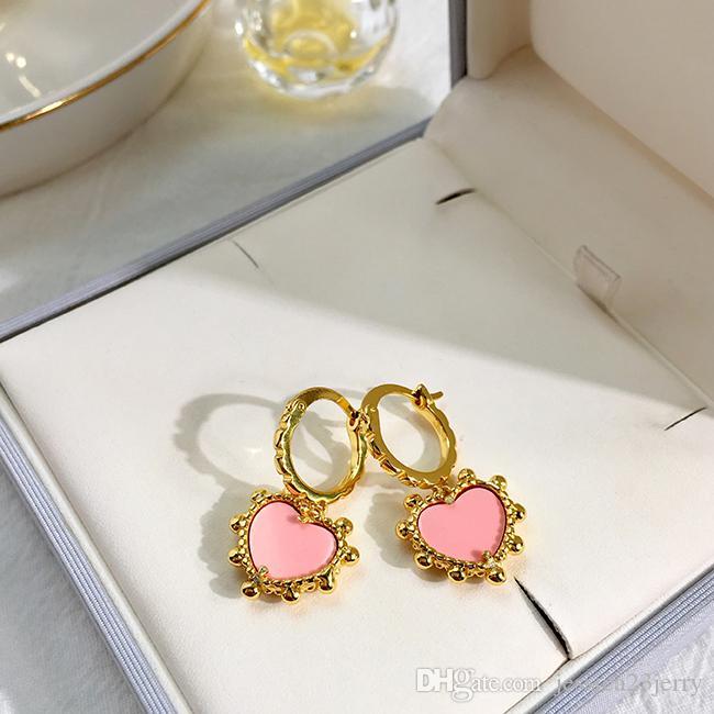 2020 الأزياء والمجوهرات أقراط حار بيع العلامة التجارية الجديدة والمجوهرات قذيفة الطبيعية / العقيق القلب للفتيات