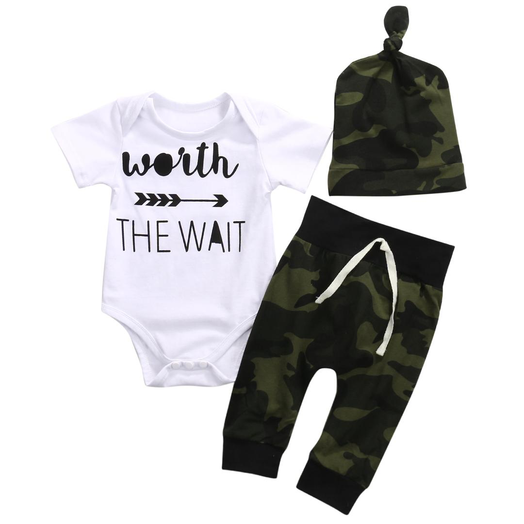 Worth the Wait Short sleeve Bodysuit,Camouflage Pant with Hat 3pcs Bodysuit Set For Baby Boy Summer Clothes Outfit