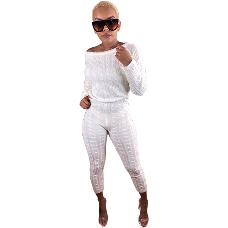 Grande Casual Suor Ternos Mulheres Two Piece Set Top E Calças Confortáveis Cashmere Terno De Malha Elegante Bodycon Ternos Das Mulheres Esportes