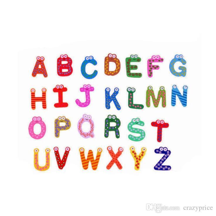 26 Carta Nevera Imanes de Animales A-Z de madera etiquetas engomadas magnéticas del alfabeto imán del bebé Juguetes para niños Inicio la decoración del jardín LXL802Q