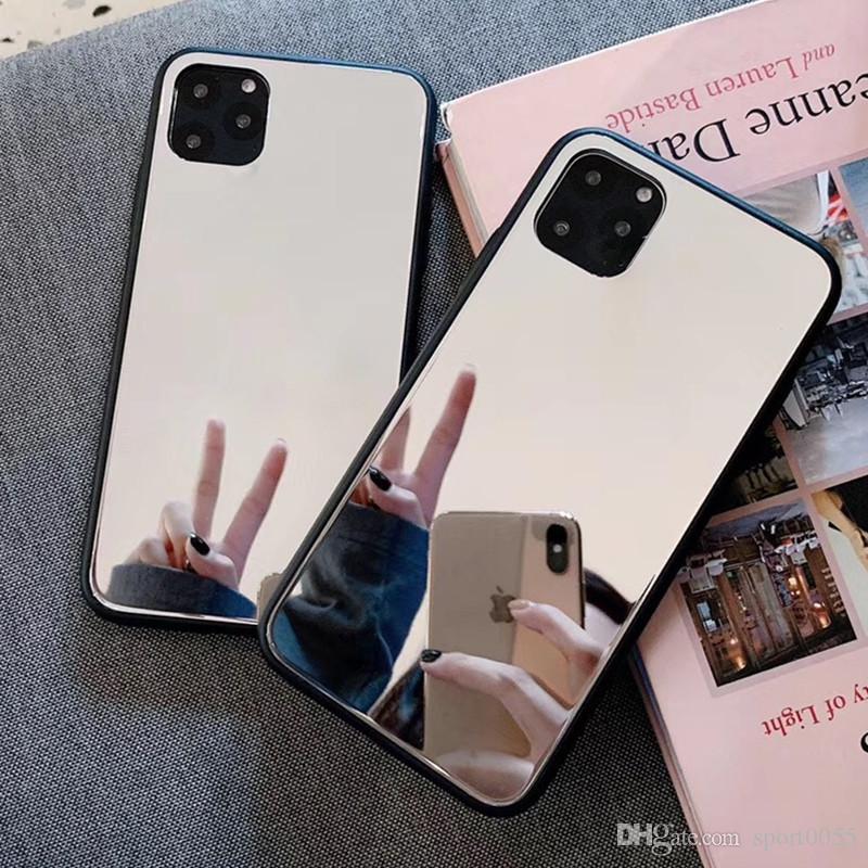 1PCS 패션 거울 유리 거울 전화 케이스 아이폰 7 8 X XR X가 11 프로 맥스 모바일 전화 드롭 보호 케이스 6S