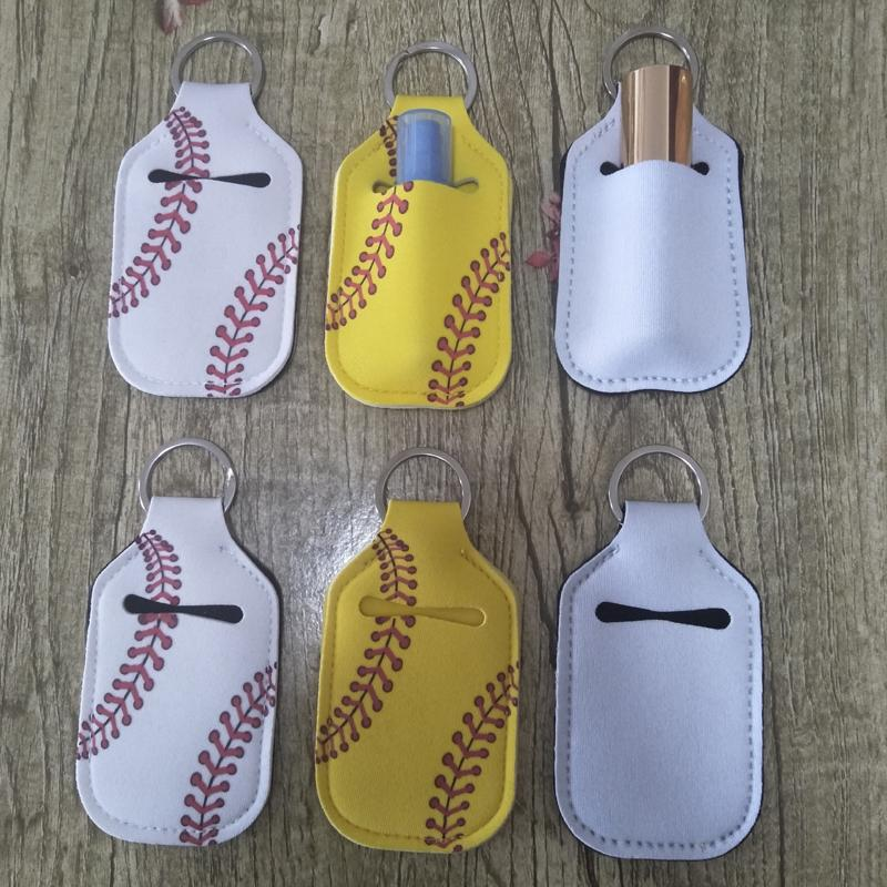 In Stock! Chapstick Holders 30ML Hand Sanitizer Bottle Cover Neoprene Keychain Bags Baseball Print with Sanitizer Bag Party Favor