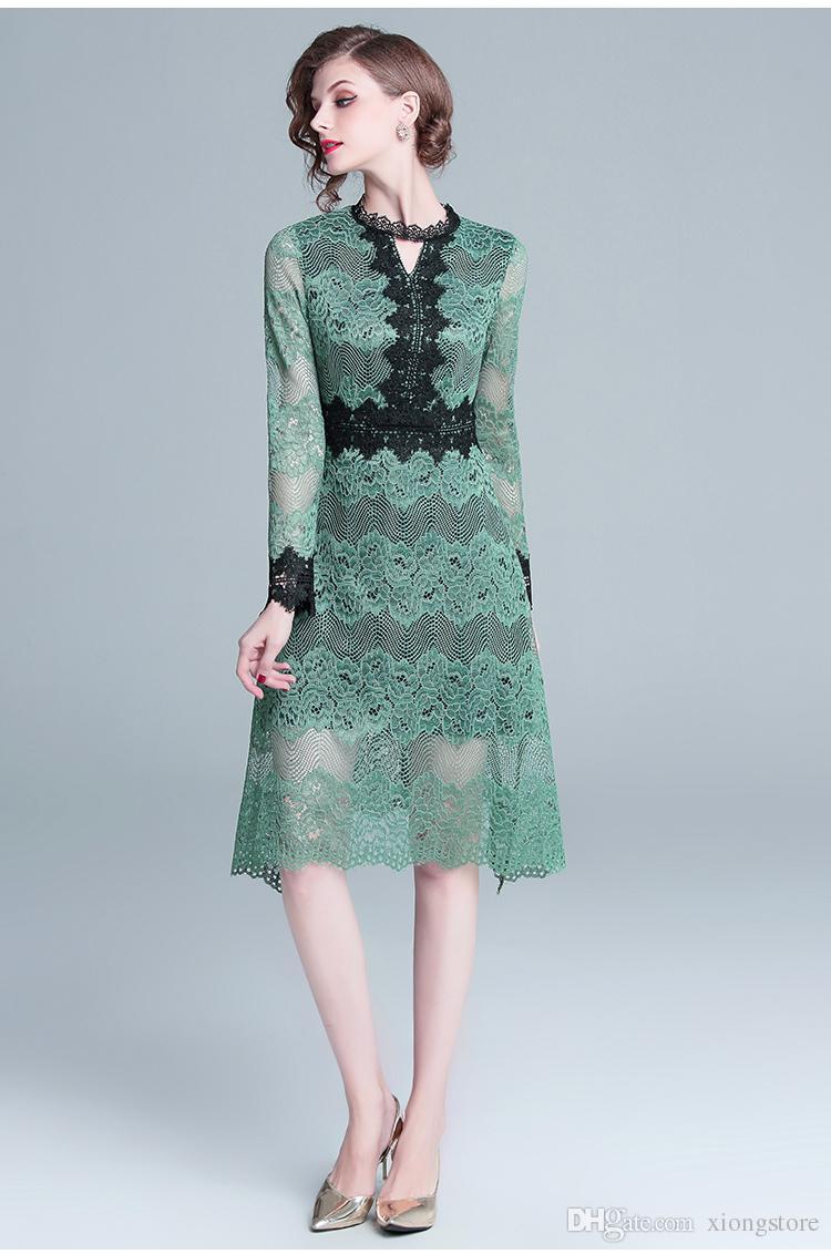 2019 Uma Linha de Renda Nova chegada de alta qualidade design de luxo pista mulheres Oco verde vestido de renda de Manga Longa patchwork Na Altura Do Joelho vestidos