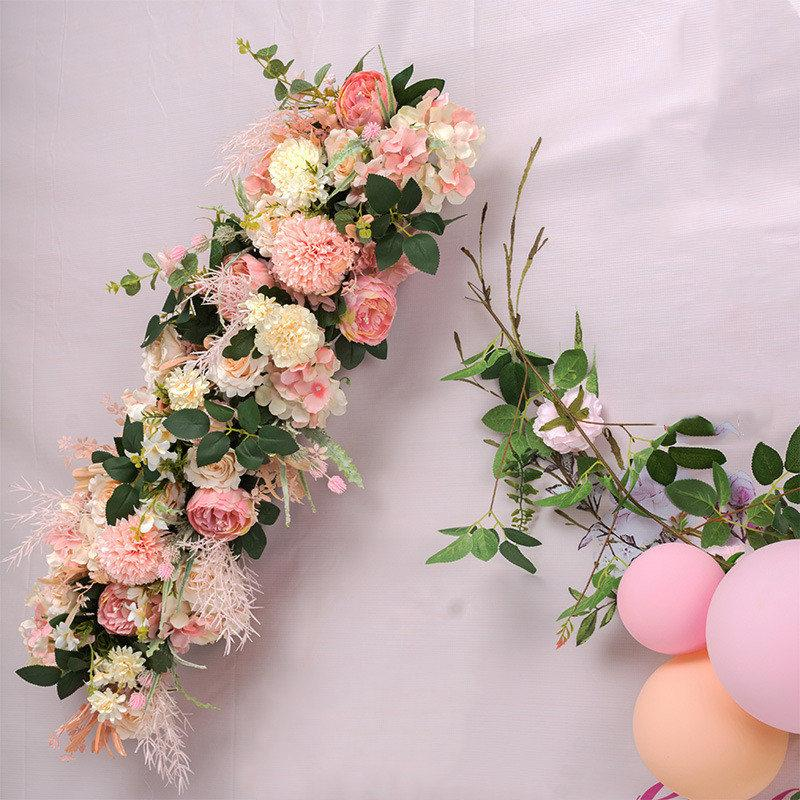 ROSEQUEEN DIY wedding flower wall arrangement supplies silk rose peony Hydrangea artificial flower row decor wedding iron arch backdrop