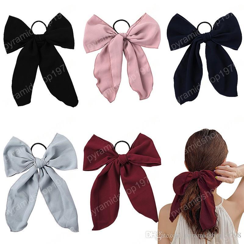 Supporto dei capelli Corde Fascia per capelli Grande Streamers Bowknot Scrunchies elastici ragazze legami dei capelli delle donne Accessori fascia coda di cavallo