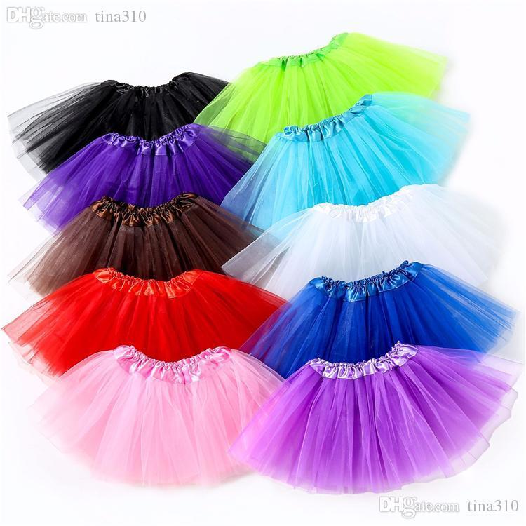 10 цветов верхнего качество конфеты цвета дети пачки юбка танец платье мягкая пачка платье балет юбка Pettiskirt одежда 10pcs / серия T2I368