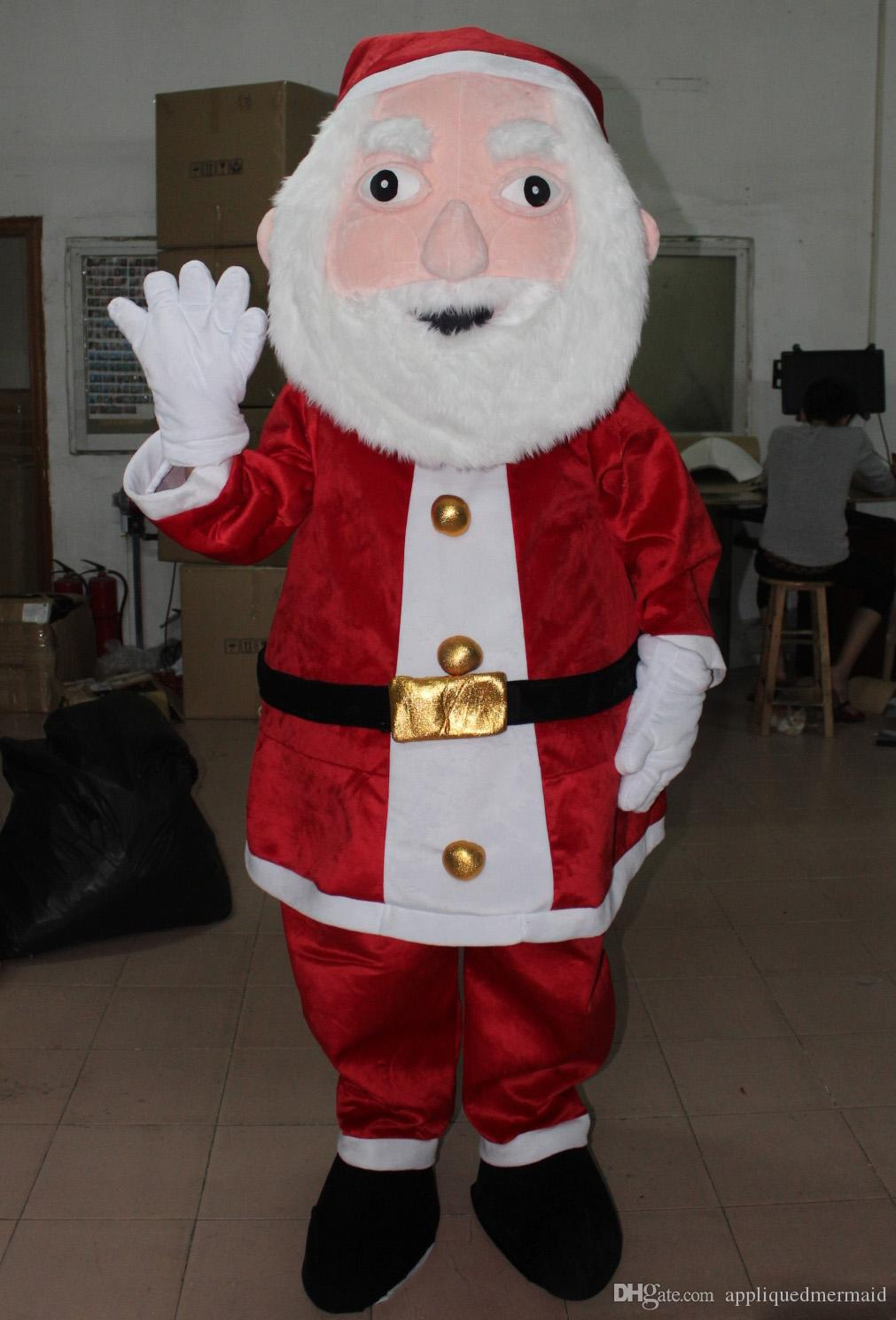 100% real photos of the red santa clause mascot costume suit father Christmas mascot costume for adult to wear