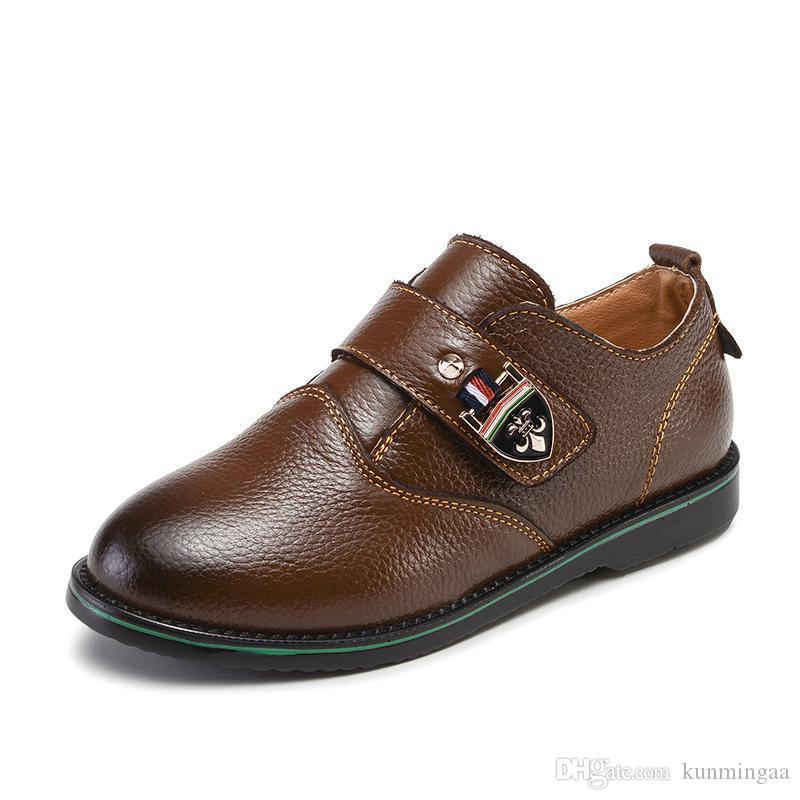 Crianças couro genuíno sapatos para Boys School Mostrar Sapatos Flats clássico britânico Oxford sapatos de crianças casamento Loafer