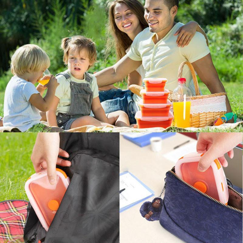Silicone Lunch Box Portable Bowl Colorful Folding Food Container Lunchbox 350/500/800/1200ml Eco-Friendly c729