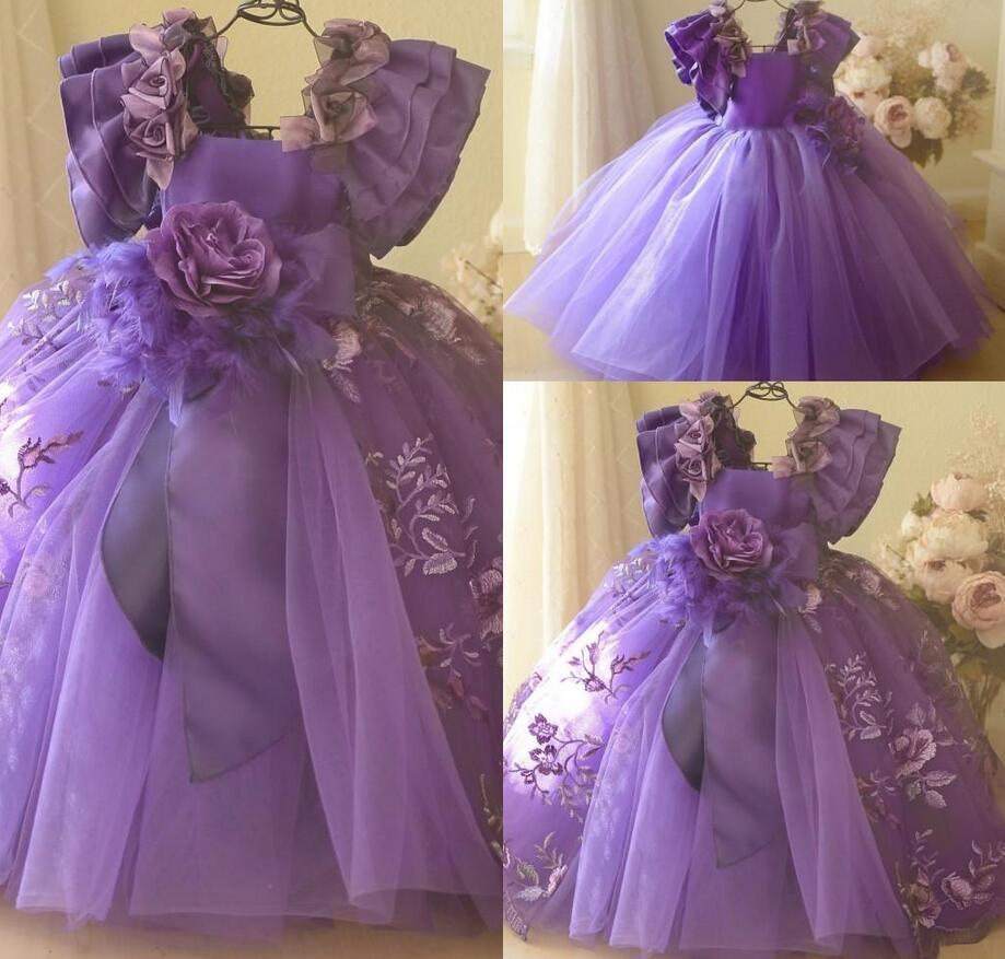 Parte de aniversário da menina de flor encantador vestido de baile Vestido Praça manga curta Tulle Lace Feito à Mão Flor Feather Vestido de Noiva Tamanho do Tornozelo da menina
