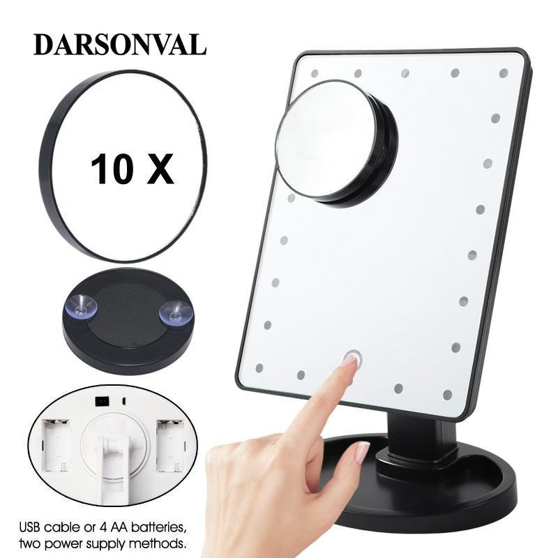 LED Magnifier Professional Makeup Mirrors With Adjustable 16/22 Touch Screen Professional Lighted Mirrors For Beauty Makeup Y200114