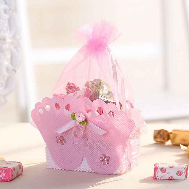 12pcs Baby Foot Candy Box Footprints On The Beach Favour Free Ribbon Gift Box Baptism Candy Container Baby Shower Sweet Bag