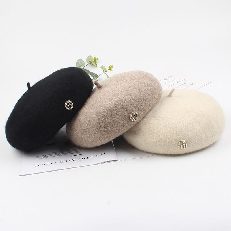 para mujer fransız şapka boina bere şapka kadın örme şapkalar Berret solcular Sonbahar ve kış H harfi bere kap yün bere