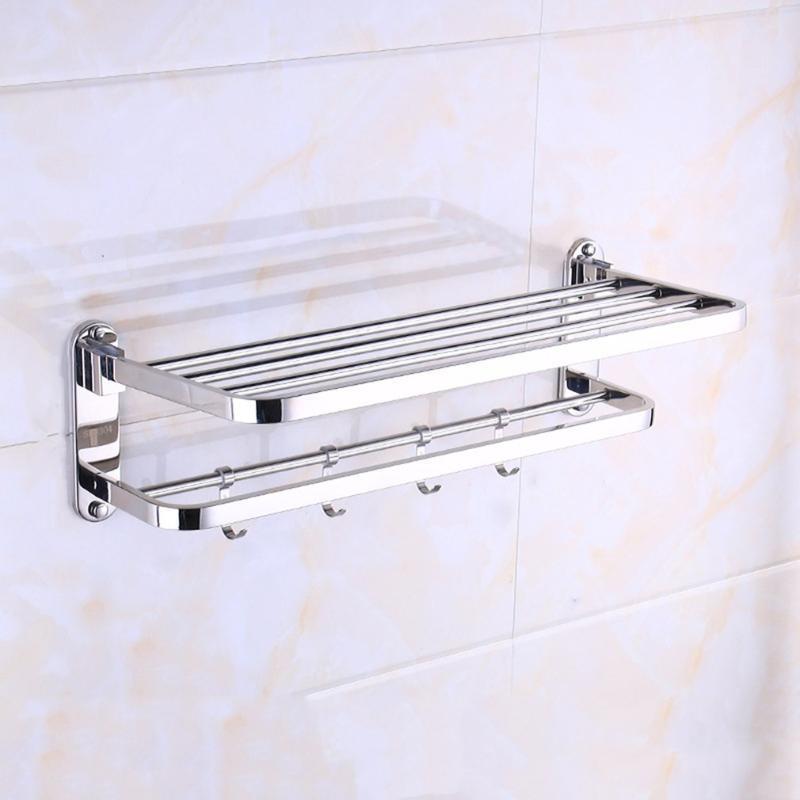 Multi-Funktions-Edelstahl-Handtuchhalter Anti-Rost Badezimmer Washroom Organisator der Wand befestigter Lagerrutenhalter Hakenstange hängend