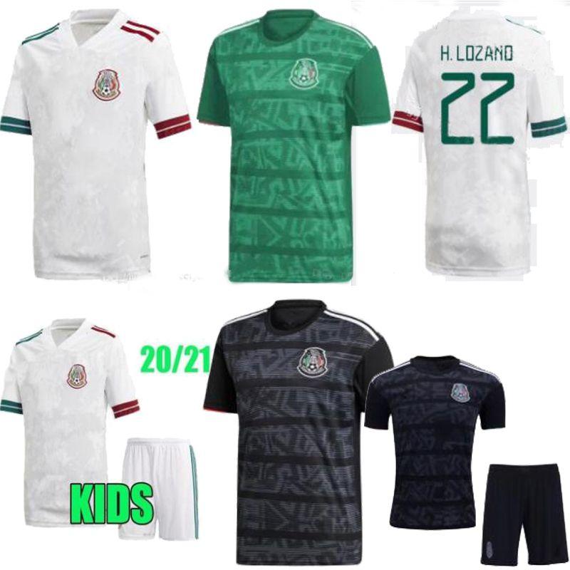2020 México Início Green Away crianças Homens Branco Preto Adulto kit H.LOZANO DOS SANTOS Chicharito ostenta camisa de futebol México Futebol 19 20