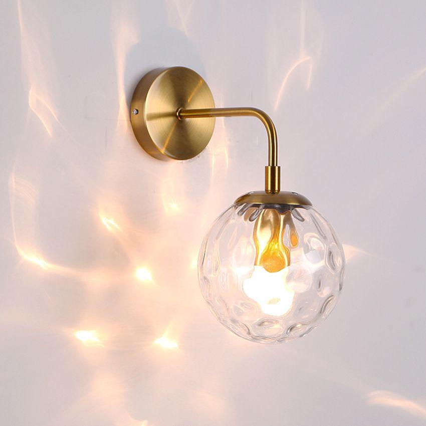 Applique Lampadina Led Luci Lampada Camera da letto Black Modern Clear Clear Shade Gold Shap Lamp Wall Bathroom Bathroom Stairs Creative Scale in vetro Wall Wall Oritd