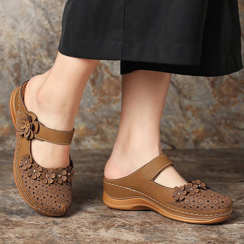 Mulheres appliqus Sandals Senhoras escavar Shoes sólido gancho Tamanho do Circuito Feminino respirável Mulheres Calçado Moda 2020 New Além disso,