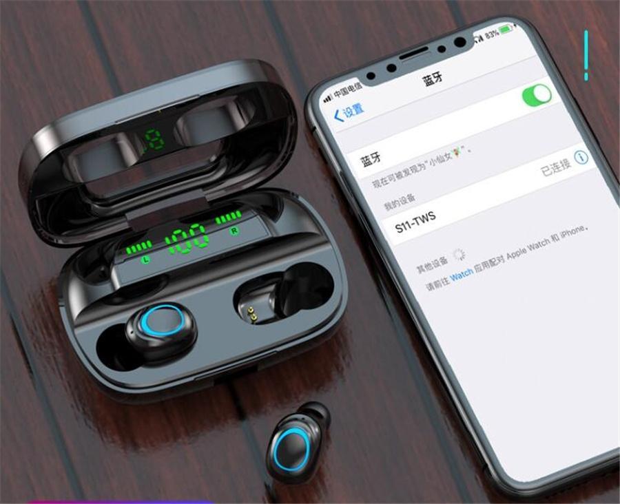 F9-5 Casque sans fil Bluetooth 5.0 Tws écouteurs sans fil 2200mAh Boîte de charge avec microphone Sport Casques d'écoute étanche # Oreillettes OU611