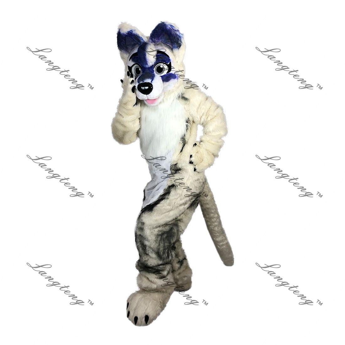 Beige spot wolf dog fox husky Mascot Costume Cartoon Longteng high quality Long-haired fursuit costme (wolf dog fox husky Dragon)