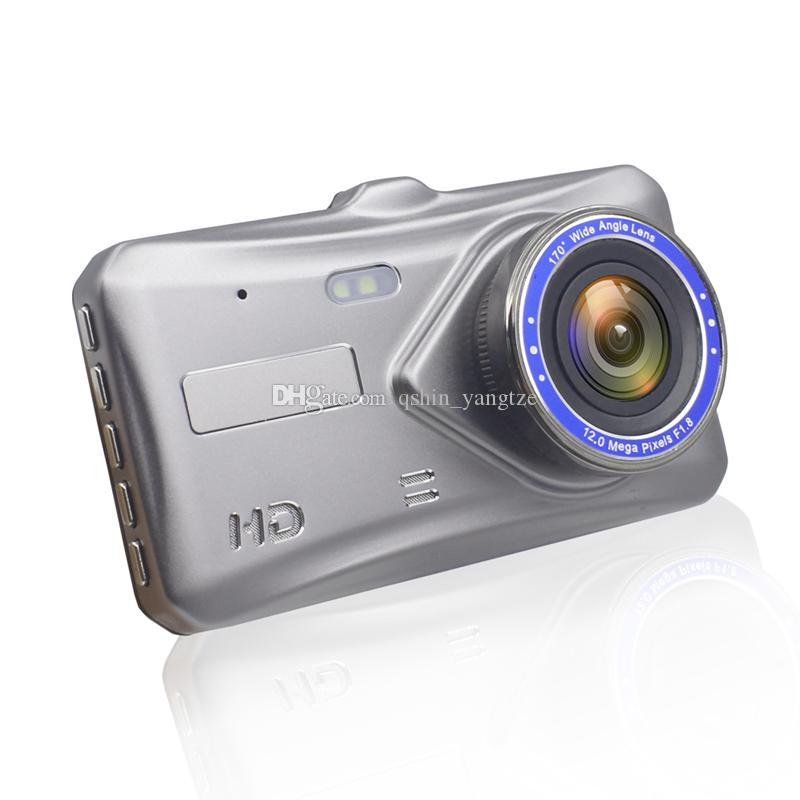 4 inches car DVR camcorder 2Ch car camera safety driving dashcam IPS touch screen dual lens 170° view angle full HD 1080P G-sensor