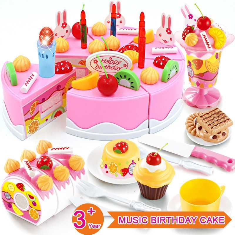 38-82pcs Kitchen Girls Toys Cake Miniature DIY Pretend Play Fruit Cutting Birthday Toys For Children Educational Kids Gift