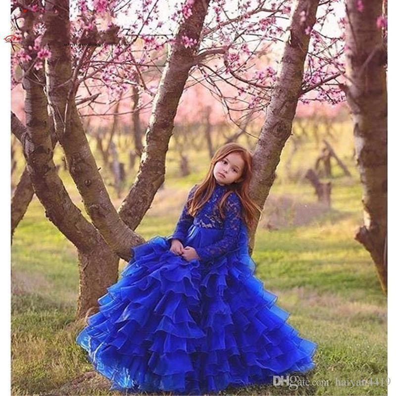 New árabes meninas Pageant Vestidos Jewel Neck Royal Blue Tiered Ruffles Lace Applique mangas compridas crianças Floristas vestem vestidos de aniversário