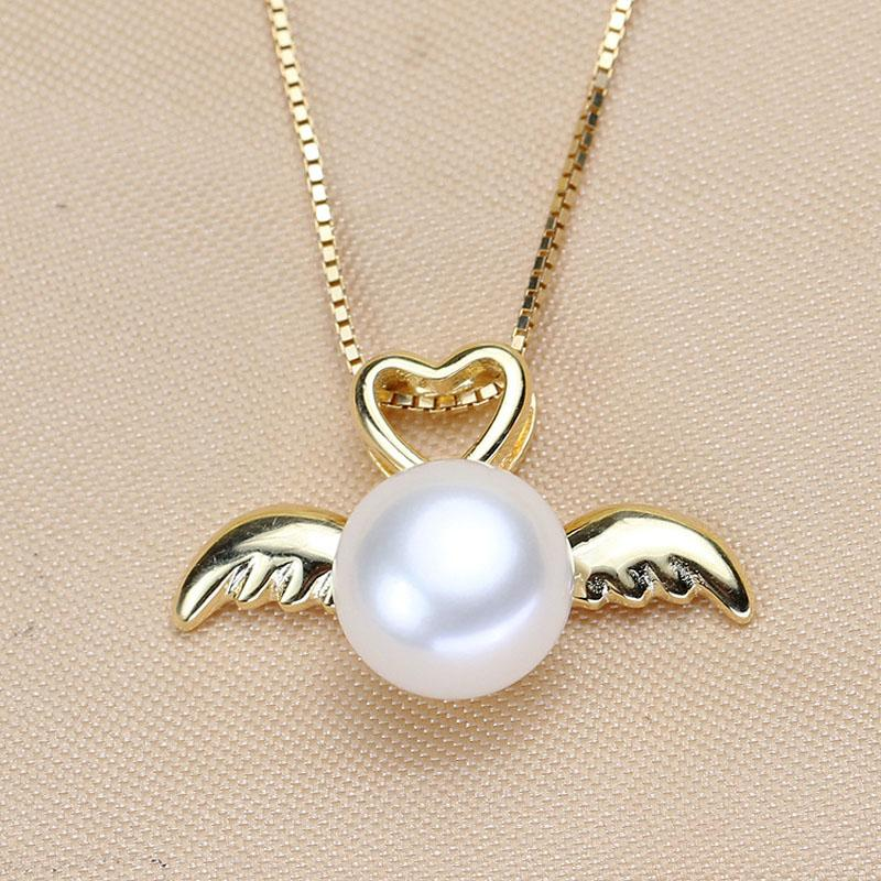 ASHIQI 925 Sterling Silver Angel wings Pendant Necklaces Natural Freshwater Pearls