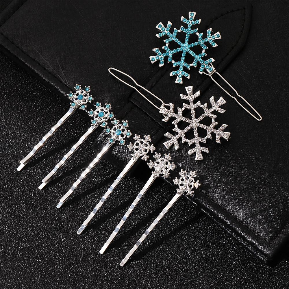 6 clipes pcs / set meninas nupcial Princesa de cristal do floco de neve Hairpin jóias presente de aniversário Headwear Barrette Ornamen Acessórios