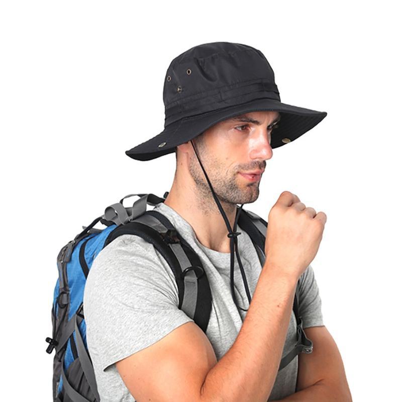 De secado rápido Pescador ajustable visera sombrero al aire libre con la barbilla Pesca Cordel de la tapa
