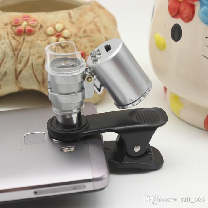 Lampe LED à l'épreuve de la lumière haute définition 60 fois universelle Universal Téléphone mobile Source Microscope Source Source Professional Magnifi