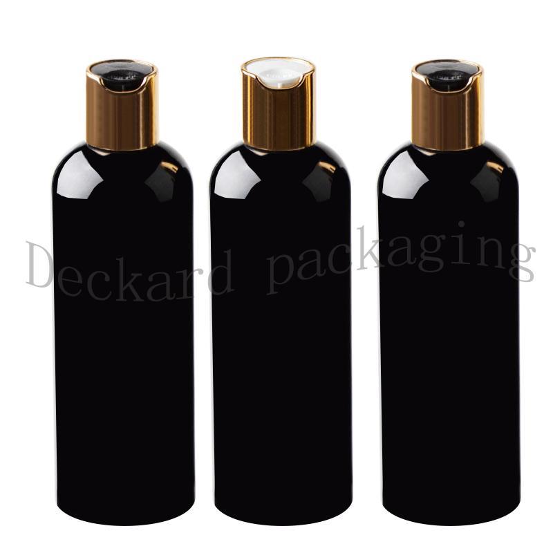 Оптовая 30шт черный 300мл Контейнер Sample очиститель, шампунь для хранения с крышкой диска золотой пустой черный Упаковка пластиковых бутылок