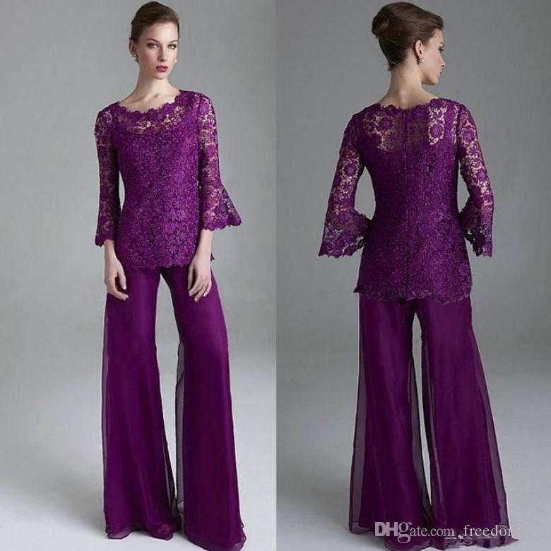 Modest Purple Lace Mother Of The Bride Pant Suits Sheer Jewel Neck Long Sleeves Wedding Guest pantsuit Plus Size Mothers Groom Dresses