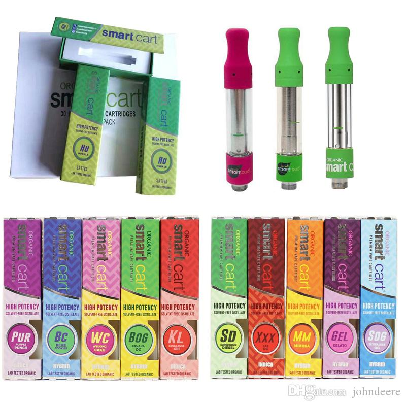 Smart Cart Vape Cartridge 1.0ml Green Smartcart Glass Tank Ceramic Coil Atomizers 510 Thick Oil With 10 Flavor Packages