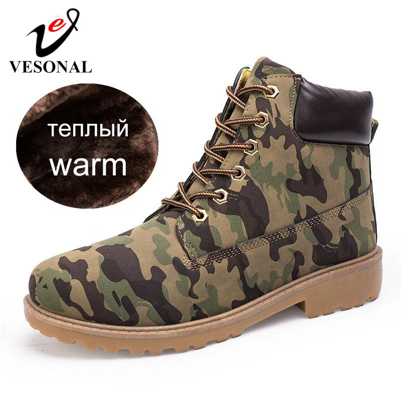 VESONAL Brand Unisex Ankle Boots Sneakers Men Casual Shoes Waterproof Snow Boots For Male Adult Winter Warm Short Plush Footwear CJ191205