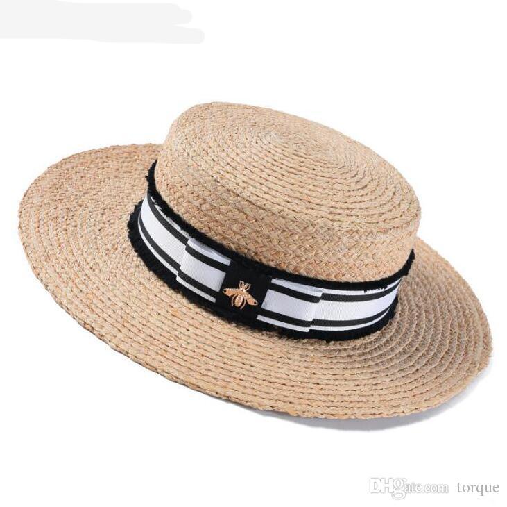 Frühling und Sommer New Ladies Lafite Strohhut Fashion Flat Top Hut Big Visor Out of the Sunscreen Sun Hat
