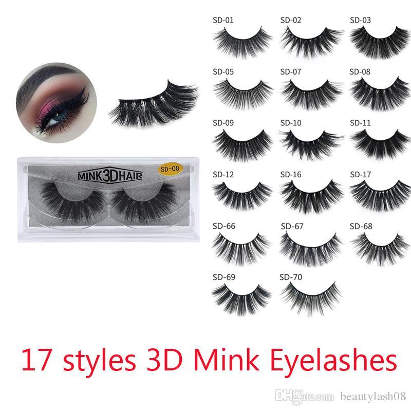 3D Mink Eyelashes Eye makeup Mink False lashes Soft Natural Thick Fake Eyelashes 3D Eye Lashes Extension Beauty Tools 17 styles