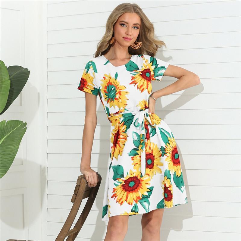 Kadınlar Elbiseler Moda Çiçek Desen Doğal Renk Elbise Casual Sashes Kadınlar Tasarımcı Giyim Kısa Kollu Elbiseler