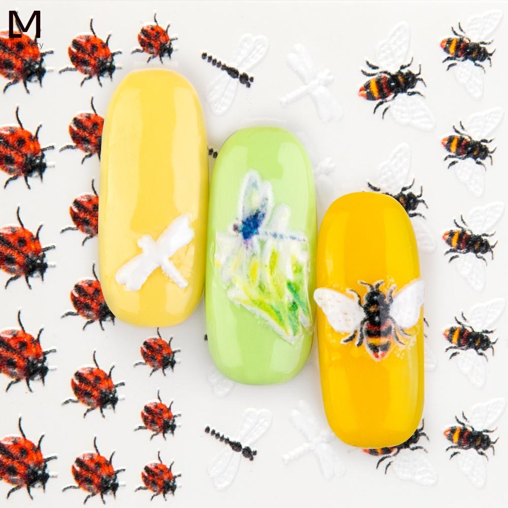 1шт ногтей наклейки переноса воды наклейки Симпатичные животные Пчелы ногтей наклейки Тиснение Дизайн ногтей Art Transfer Slide