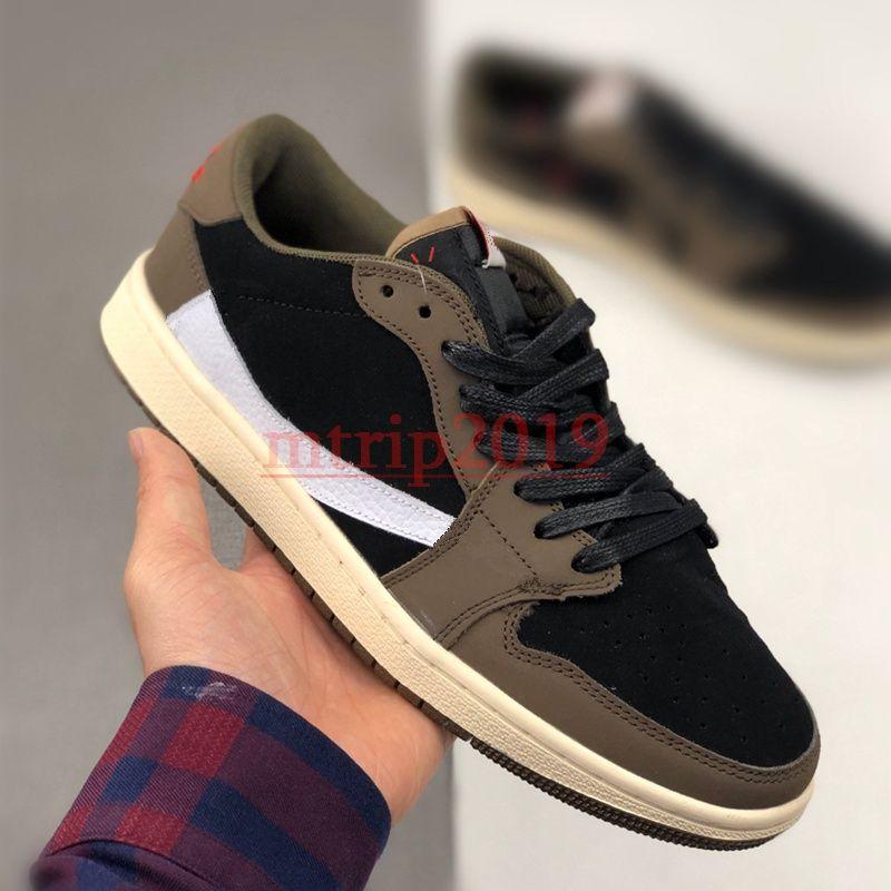 New Designer Shoes Mens Travis Scotts x 1 Low OG SP TS Brown Suede Noir Basketball Chaussures de course sombres Mocha sport Baskets Sneakers 36-