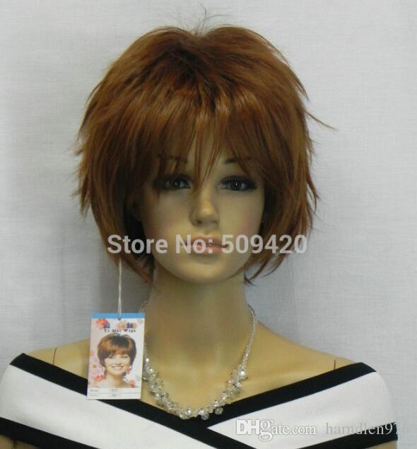 Grátis shippingNew Venda Quente! Moda marrom curto reta cosplay peruca cheia