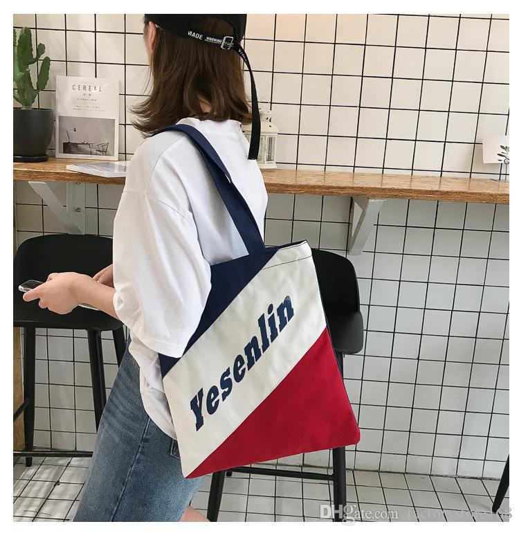 Tasche Hgojl One-Schulter Student Brief Handtasche Hipster Frauen Leinwand Linie Einfach Hit Mädchen Vintage Tote Mori Einkaufstasche Farbe Esijg