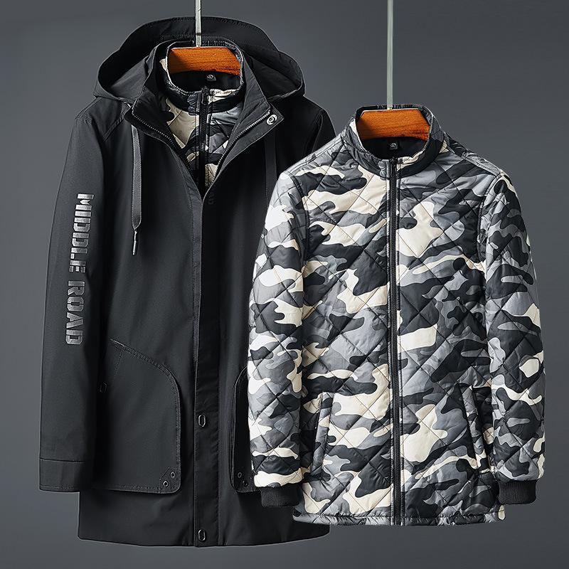 Cotton Jacket Mens Two-Piece Set Liner Съемная зима 2019 Новых Толстые Инструментальной куртка вниз хлопок проложенного