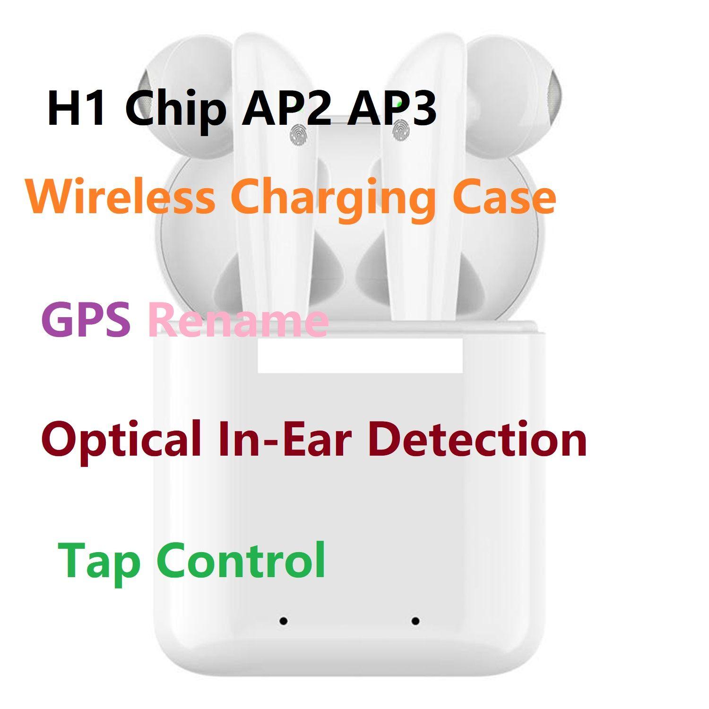 GPS إعادة تسمية AP2 AP3 البسيطة TWS بلوتوث سماعات الأذن H1 رقاقة لاسلكية الشحن حالة البصرية الهواء في الأذن كشف ليس حاضن 2 3 برو I200 I12 I9 I500
